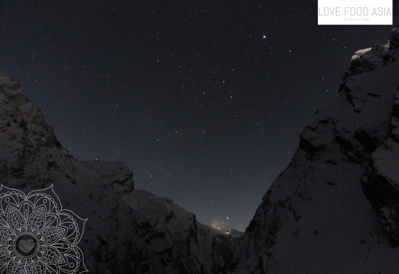 Annapurna mountains by night