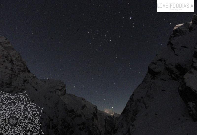 Annapurna mountains by night